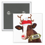 Mooey Merry Christmas Reindeer Cow 15 Cm Square Badge