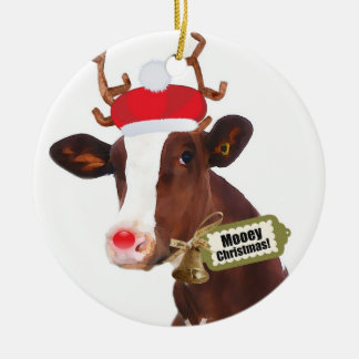 Mooey Merry Christmas Reindeer Cow Christmas Ornament