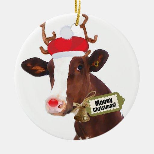 Mooey Merry Christmas Reindeer Cow Ornament