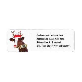 Mooey Merry Christmas Reindeer Cow Return Address Label