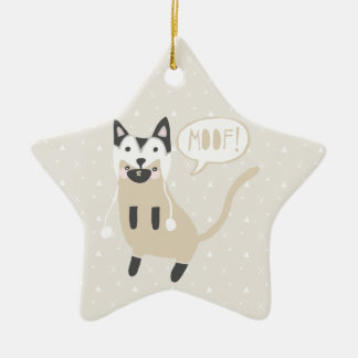 """Moof"" Cat in Husky Wolf Hat Christmas Ornament"