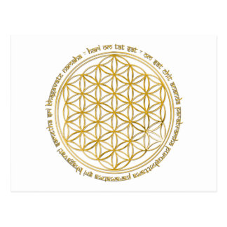 Moola mantra/flower of the life post card