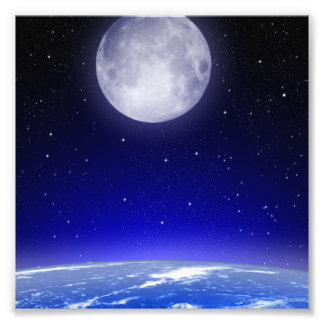 Moon Above Earth Photo Print