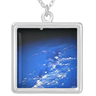 Moon above Earth Silver Plated Necklace
