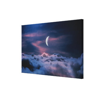 Moon above the clouds canvas print