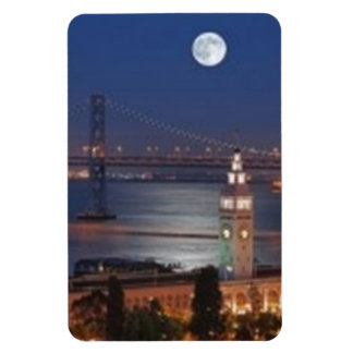 Moon Above the Ferry Building in San Francisco Cal Rectangular Photo Magnet