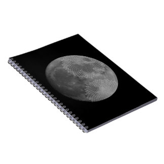 Moon and a spiral phyllotaxis notebook