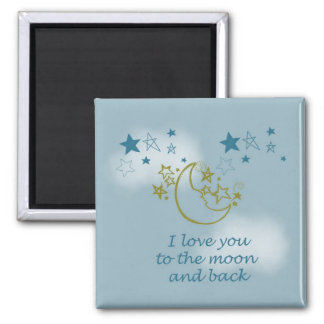 Moon and Back Square Magnet