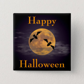 Moon and Bats 15 Cm Square Badge