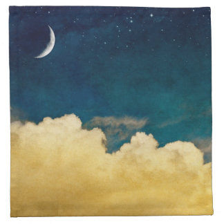 Moon And Cloudscape Cloth Napkins