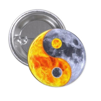 MOON AND FIRE YIN AND YANG 3 CM ROUND BADGE