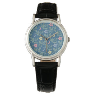 Moon and Flowers Watch