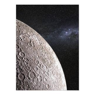 Moon and Galaxy. 14 Cm X 19 Cm Invitation Card