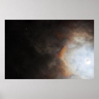 Moon and Jupiter Photo Poster