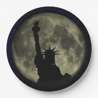 Moon and Lady Liberty Paper Plate