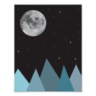 Moon and Mountains Poster