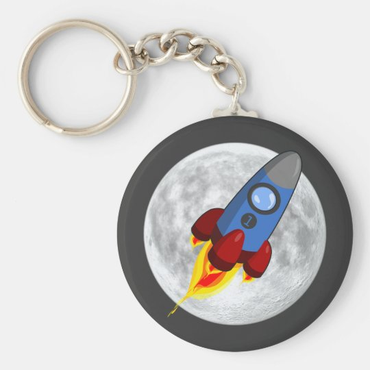 Moon and Rocket Keychain (keyring)