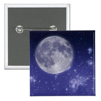 Moon and Shining Stars 15 Cm Square Badge