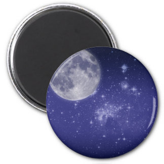 Moon and Shining Stars 6 Cm Round Magnet