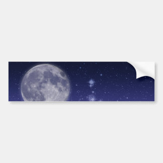 Moon and Shining Stars Bumper Sticker
