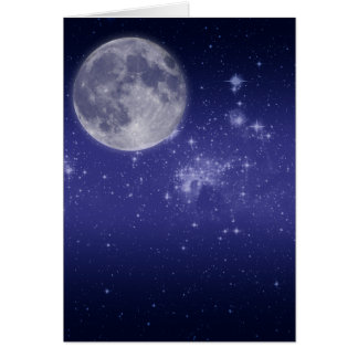 Moon and Shining Stars Greeting Card
