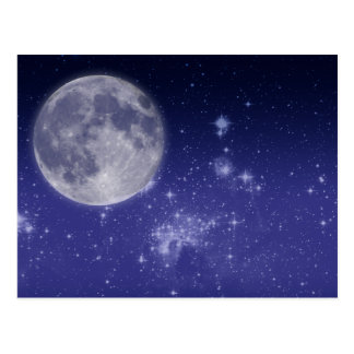 Moon and Shining Stars Postcard
