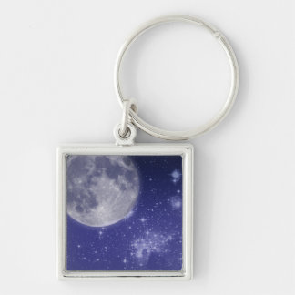 Moon and Shining Stars Silver-Colored Square Key Ring