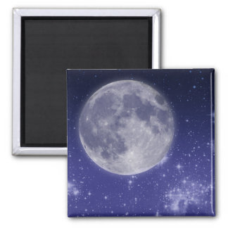 Moon and Shining Stars Square Magnet