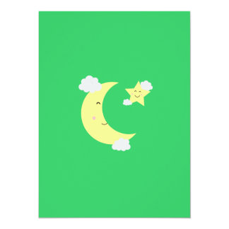 Moon and Star 14 Cm X 19 Cm Invitation Card