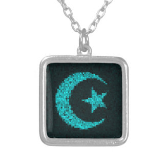 Moon and star blue glitter islamic necklace