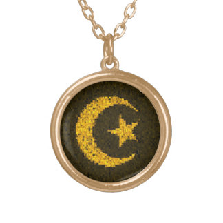 Moon and star gold glitter islamic necklace