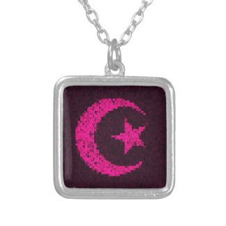 Moon and star pink glitter islamic necklace