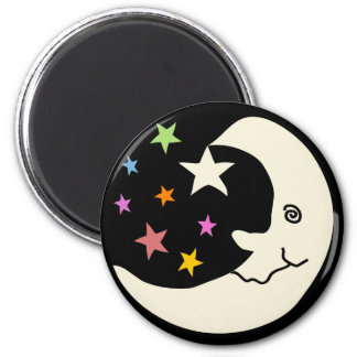MOON AND STARS 6 CM ROUND MAGNET