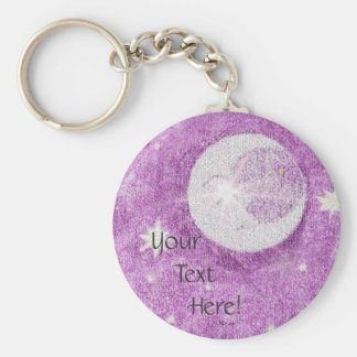 Moon and Stars and Purple Twilight Sky Basic Round Button Key Ring