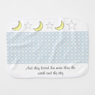 Moon and Stars Baby Boy burp cloth