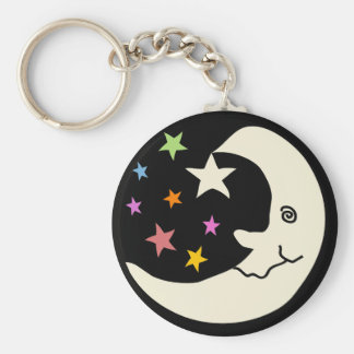 MOON AND STARS BASIC ROUND BUTTON KEY RING