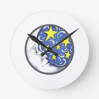 MOON AND STARS ROUND WALL CLOCK