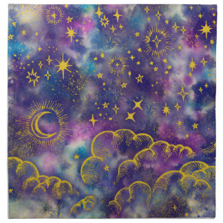 """Moon and Stars"" Cloth Dinner Napkins (Gold-Etc)"