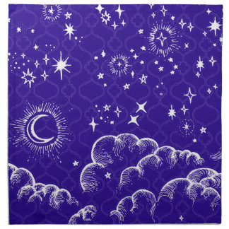 """Moon and Stars"" Cloth Dinner Napkins (WH/BLU/PUR)"