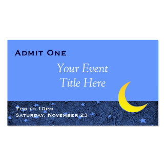 Moon and Stars Custom Event Ticket Business Card Pack Of Standard Business Cards