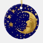 Moon and Stars Double-Sided Ceramic Round Christmas Ornament