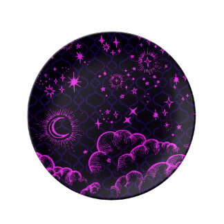 """""""Moon and Stars"""" Decorative Plate (PK/BLK/PUR)"""
