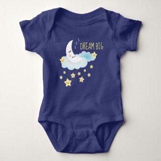 Moon and Stars Dream Big Illustration Baby Bodysuit