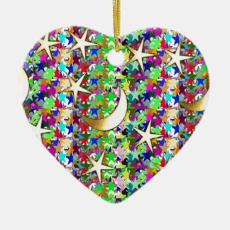 Moon and Stars : Elegant Starry night background Ceramic Heart Decoration