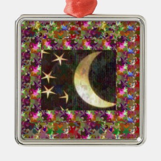 Moon and Stars : Elegant Starry night background Christmas Ornaments