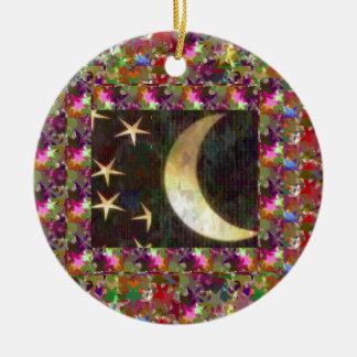 Moon and Stars : Elegant Starry night background Christmas Tree Ornament