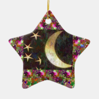 Moon and Stars : Elegant Starry night background Christmas Tree Ornaments