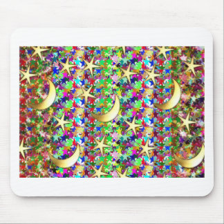 Moon and Stars : Elegant Starry night background Mouse Pad