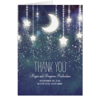 Moon and Stars Enchanted Navy Wedding Thank You Card