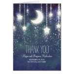 Moon and Stars Enchanted Navy Wedding Thank You Note Card
